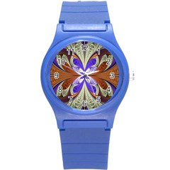 Fractal Splits Silver Gold Round Plastic Sport Watch (s) by Celenk
