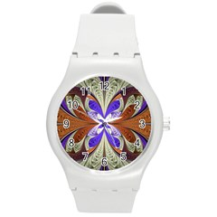 Fractal Splits Silver Gold Round Plastic Sport Watch (m) by Celenk