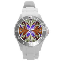 Fractal Splits Silver Gold Round Plastic Sport Watch (l) by Celenk