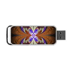 Fractal Splits Silver Gold Portable Usb Flash (two Sides) by Celenk