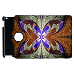 Fractal Splits Silver Gold Apple Ipad 3/4 Flip 360 Case by Celenk