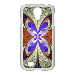 Fractal Splits Silver Gold Samsung Galaxy S4 I9500/ I9505 Case (white) by Celenk