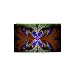 Fractal Splits Silver Gold Cosmetic Bag (xs) by Celenk