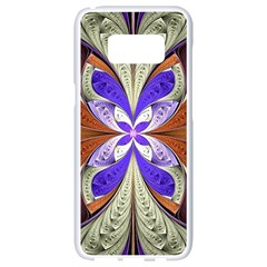 Fractal Splits Silver Gold Samsung Galaxy S8 White Seamless Case by Celenk