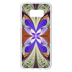 Fractal Splits Silver Gold Samsung Galaxy S8 Plus White Seamless Case by Celenk
