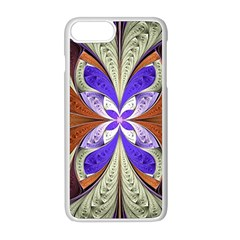 Fractal Splits Silver Gold Apple Iphone 8 Plus Seamless Case (white) by Celenk