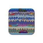 Zig zag boats Rubber Square Coaster (4 pack)
