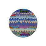 Zig zag boats Rubber Round Coaster (4 pack)