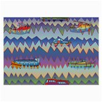 Zig zag boats Large Glasses Cloth (2-Side)