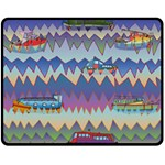Zig zag boats Fleece Blanket (Medium)