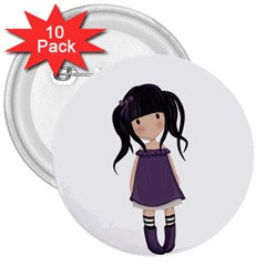 Dolly Girl In Purple 3  Buttons (10 Pack)  by Valentinaart