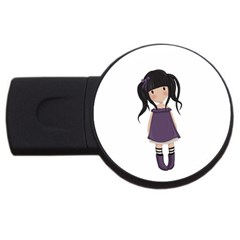 Dolly Girl In Purple Usb Flash Drive Round (2 Gb) by Valentinaart