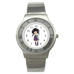 Dolly Girl In Purple Stainless Steel Watch by Valentinaart