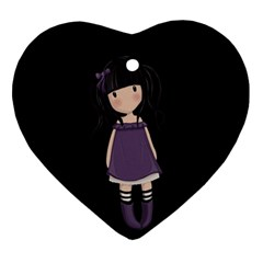 Dolly Girl In Purple Ornament (heart) by Valentinaart