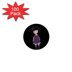 Dolly Girl In Purple 1  Mini Magnets (100 Pack)  by Valentinaart