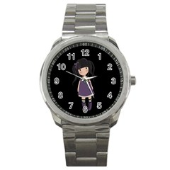 Dolly Girl In Purple Sport Metal Watch by Valentinaart