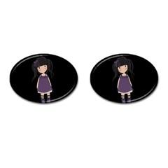 Dolly Girl In Purple Cufflinks (oval) by Valentinaart