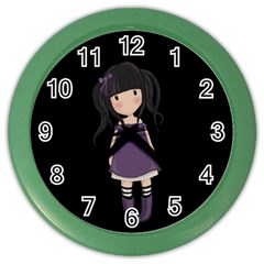 Dolly Girl In Purple Color Wall Clocks by Valentinaart