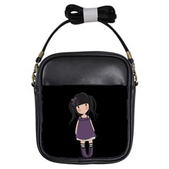 Dolly Girl In Purple Girls Sling Bags by Valentinaart