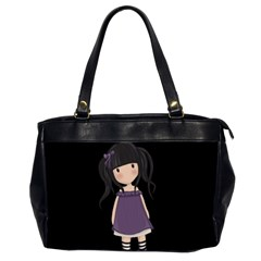 Dolly Girl In Purple Office Handbags (2 Sides)  by Valentinaart