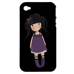 Dolly Girl In Purple Apple Iphone 4/4s Hardshell Case (pc+silicone) by Valentinaart