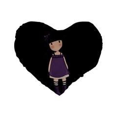 Dolly Girl In Purple Standard 16  Premium Heart Shape Cushions by Valentinaart