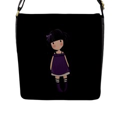 Dolly Girl In Purple Flap Messenger Bag (l)  by Valentinaart