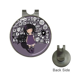 Dolly Girl In Purple Hat Clips With Golf Markers by Valentinaart