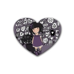 Dolly Girl In Purple Rubber Coaster (heart)  by Valentinaart