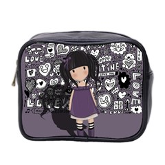 Dolly Girl In Purple Mini Toiletries Bag 2 Side by Valentinaart