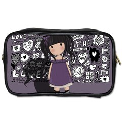 Dolly Girl In Purple Toiletries Bags 2 Side by Valentinaart