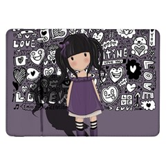 Dolly Girl In Purple Samsung Galaxy Tab 8 9  P7300 Flip Case by Valentinaart