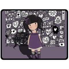 Dolly Girl In Purple Double Sided Fleece Blanket (large)  by Valentinaart