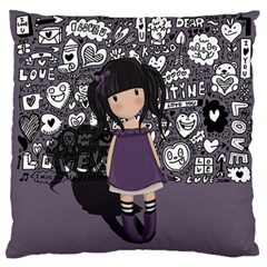 Dolly Girl In Purple Large Flano Cushion Case (two Sides) by Valentinaart