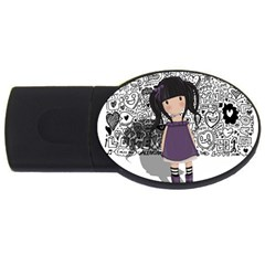 Dolly Girl In Purple Usb Flash Drive Oval (2 Gb) by Valentinaart