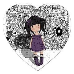 Dolly Girl In Purple Jigsaw Puzzle (heart) by Valentinaart