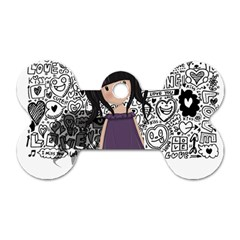 Dolly Girl In Purple Dog Tag Bone (two Sides) by Valentinaart