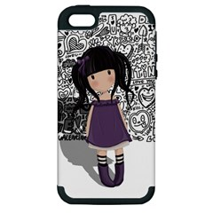 Dolly Girl In Purple Apple Iphone 5 Hardshell Case (pc+silicone) by Valentinaart
