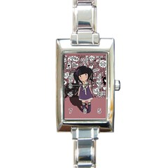 Dolly Girl In Purple Rectangle Italian Charm Watch by Valentinaart