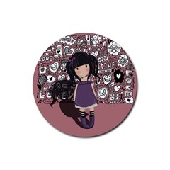 Dolly Girl In Purple Rubber Round Coaster (4 Pack)  by Valentinaart