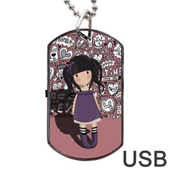 Dolly Girl In Purple Dog Tag Usb Flash (two Sides) by Valentinaart