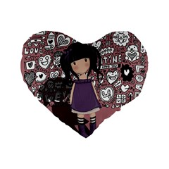 Dolly Girl In Purple Standard 16  Premium Heart Shape Cushions by Valentinaart