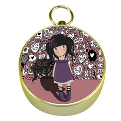 Dolly Girl In Purple Gold Compasses by Valentinaart