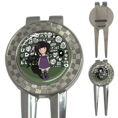 Dolly Girl In Purple 3 In 1 Golf Divots by Valentinaart