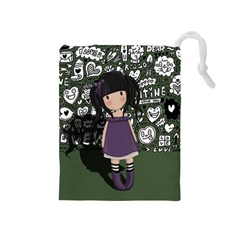 Dolly Girl In Purple Drawstring Pouches (medium)  by Valentinaart