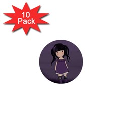 Dolly Girl In Purple 1  Mini Buttons (10 Pack)  by Valentinaart