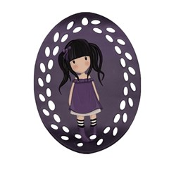 Dolly Girl In Purple Ornament (oval Filigree) by Valentinaart