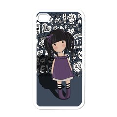 Dolly Girl In Purple Apple Iphone 4 Case (white) by Valentinaart