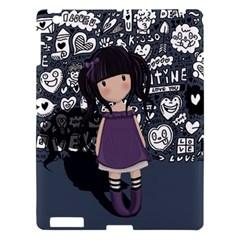 Dolly Girl In Purple Apple Ipad 3/4 Hardshell Case by Valentinaart