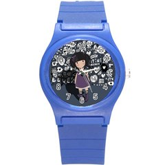 Dolly Girl In Purple Round Plastic Sport Watch (s) by Valentinaart